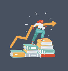 Student sitting on stack books vector