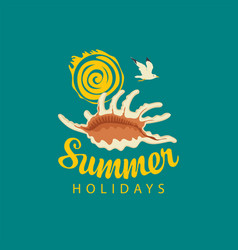 travel summer banner with seashell sun and gull vector image