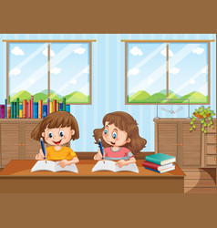 Two young girls studying at home vector