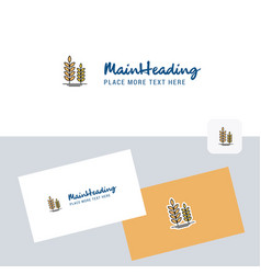 wheat logotype with business card template vector image