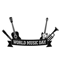 world music day icon simple style vector image