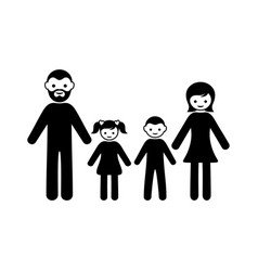 family icon with two children vector image