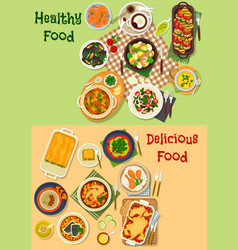 meat seafood dishes icon for healthy food design vector image