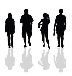 people walking black silhouette vector image