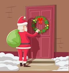 santa claus with gift bag knock christmas new year vector image vector image