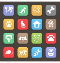 Colorful Pets icons set for web or mobile vector image