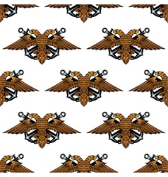 Eagle with crossed anchors seamless pattern vector