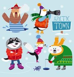 Cute set of Arctic Animals vector image vector image