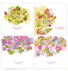 set of floral illustration vector image vector image