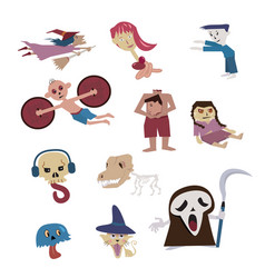 set of halloween characterghost from many culture vector image