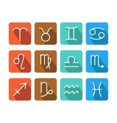Zodiac signs icons on color background for vector image vector image
