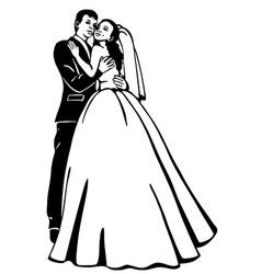 bridal couple vector image vector image