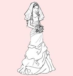 bride with a wedding bouquet vector image