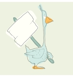 Cartoon Character Goose with wooden poster vector image vector image