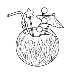 Coconut cocktail icon in outline style isolated on vector image
