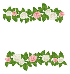 colorful border crown of leaves with roses floral vector image vector image