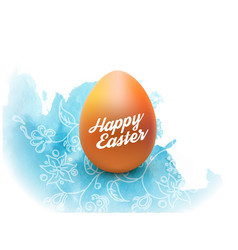 easter egg with watercolor and pattern isolated vector image