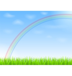 Rainbow in blue sky vector image vector image