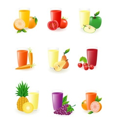 set of icons with fruit juice vector image vector image