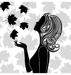 Silhouette of young woman with flying leaves vector image vector image