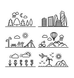 urban line icons vector image