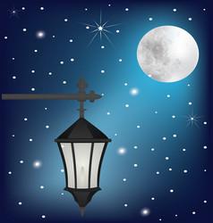vintage street lamp at night vector image vector image
