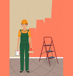woman painter character with roller and paint can vector image vector image