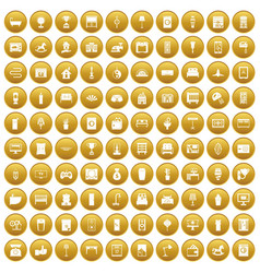 100 interior icons set gold vector