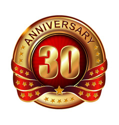 30 anniversary golden label with ribbon vector image