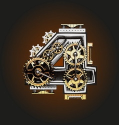 4 letter with gears vector