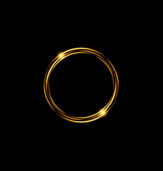 Abstract luxury golden ring round light effect vector