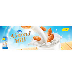 almond milk ads beverage pouring down and splash vector image