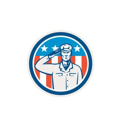 American soldier salute flag circle retro vector