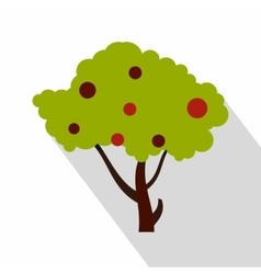 Apple tree with red apples icon flat style vector