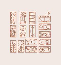 art deco coffee signs beige vector image