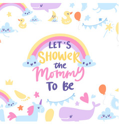 baboy shower card with cute rainbow vector image