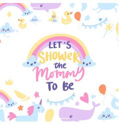 baby boy shower card with cute rainbow vector image