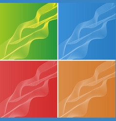 background design with wavy lines on four colors vector image