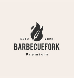 Barbecue fork bbq fire flame hipster vintage logo vector