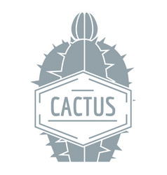 beautiful cactus logo simple gray style vector image