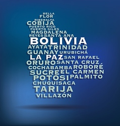 Bolivia map made with name of cities vector