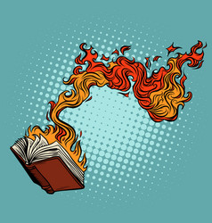 Book burns destruction knowledge and vector