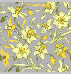 botanical seamless pattern with hand drawn flowers vector image