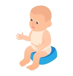 Boy sitting on the potty icon cartoon style vector