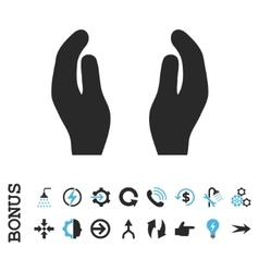Care Hands Flat Icon With Bonus vector image