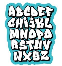 Cartoon comic doodle font alphabet vector image