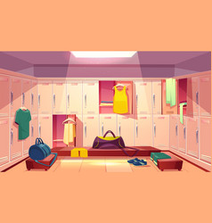 Changing room with lockers for sports vector