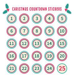 christmas countdown calendar 1 to 25 set vector image