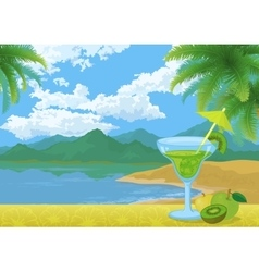 Cocktail Fruits Mountains and Sea vector