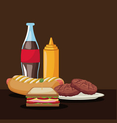 Color brown scene with bottle soda and tasty fast vector